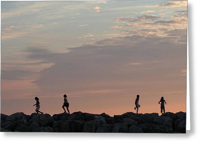Children Paying At Sunset Time Greeting Card by Carolyn Reinhart