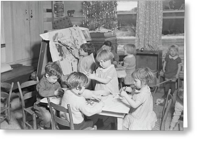 Children Playing At A Wpa Nursery Greeting Card by Stocktrek Images