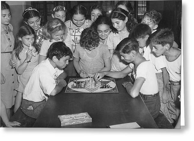 Children Playing Game Greeting Card by Underwood Archives