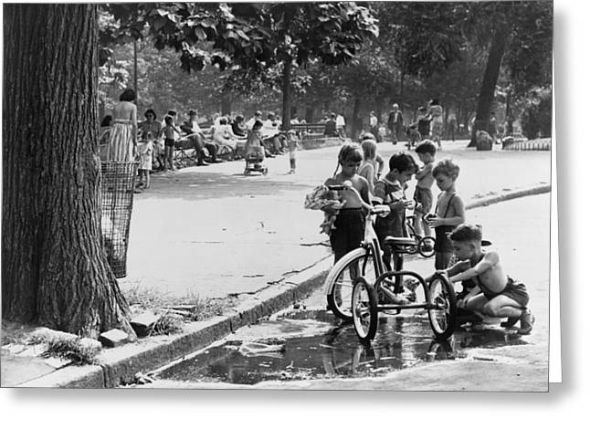 Children Playing In Park Greeting Card by Fred Palumbo