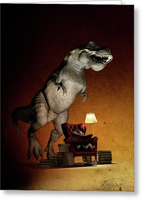 Children Reading About Dinosaurs Greeting Card by Mikkel Juul Jensen