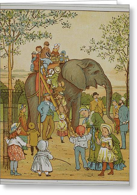 Children Riding An Elephant At London Zoo Greeting Card