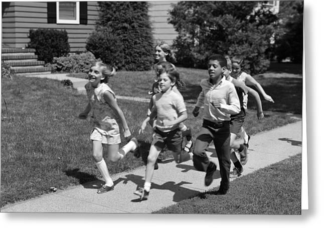 Children Running Down Sidewalk Greeting Card by H. Armstrong Roberts/ClassicStock