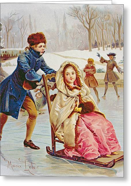 Children Skating Greeting Card by Maurice Leloir