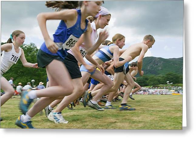 Children Start A Fell Race Greeting Card by Ashley Cooper