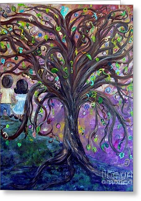 Greeting Card featuring the painting Children Under The Fantasy Tree With Jackie Joyner-kersee by Eloise Schneider