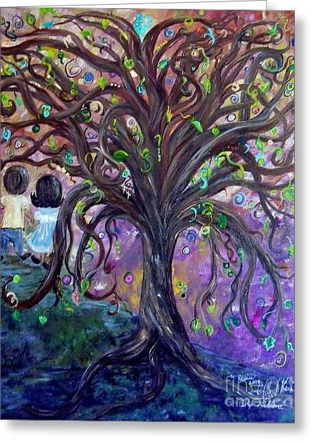 Children Under The Fantasy Tree With Jackie Joyner-kersee Greeting Card by Eloise Schneider