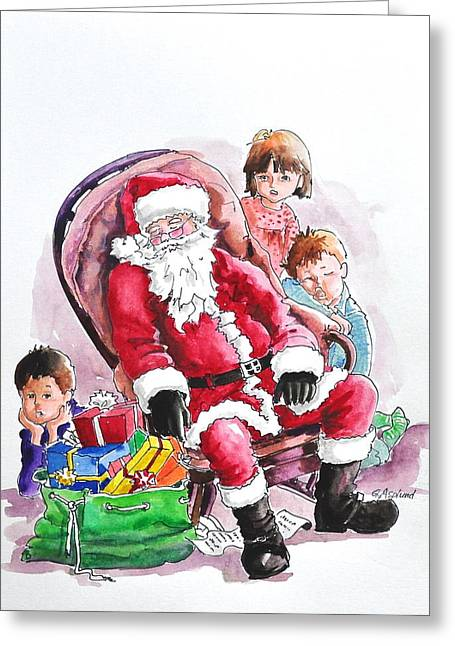 Children Patiently Waiting Up For Santa. Greeting Card