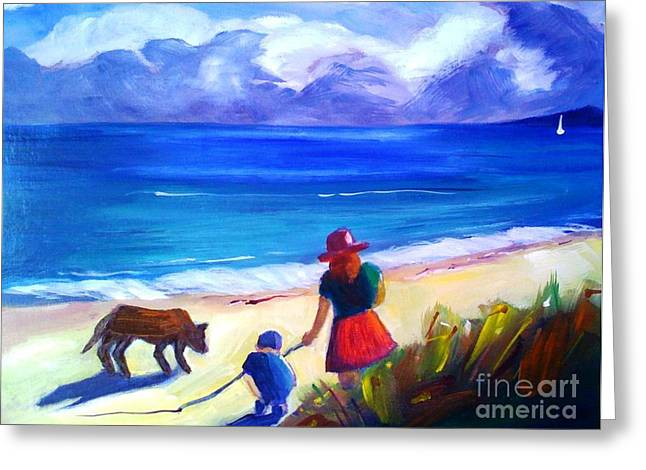 Greeting Card featuring the painting Children With Dog - Original Sold by Therese Alcorn