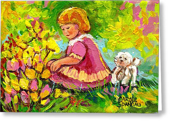 Children's Art - Little Girl With Puppy - Paintings For Children Greeting Card by Carole Spandau