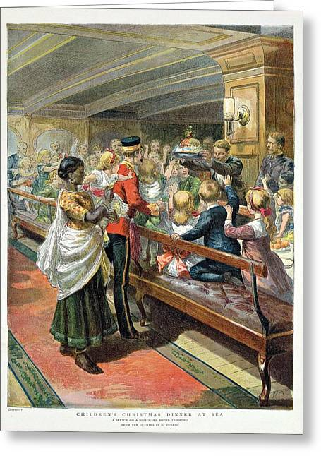 Childrens Christmas Dinner At Sea From The Graphic Christmas Number, 1889 Colour Litho Greeting Card by Godefroy Durand