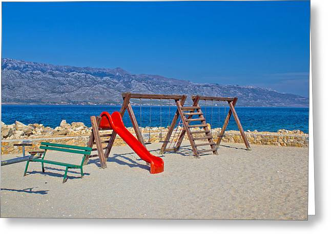 Childrens Playground By The Sea Greeting Card by Brch Photography