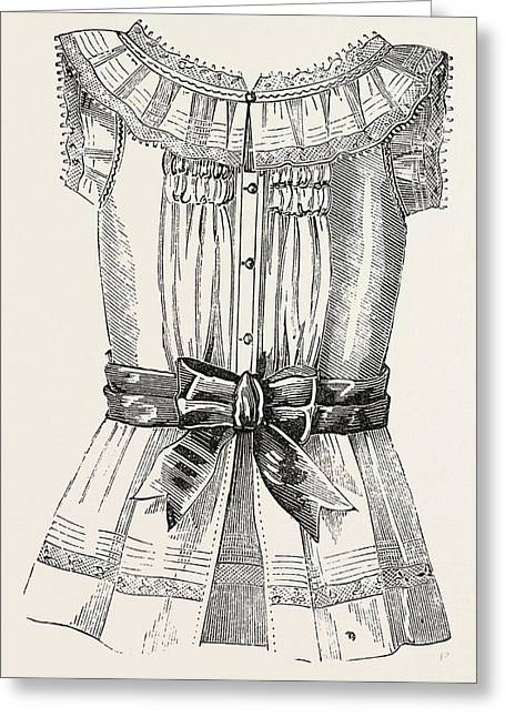 Childs Overall Pinafore, Back, 1882 Greeting Card by English School