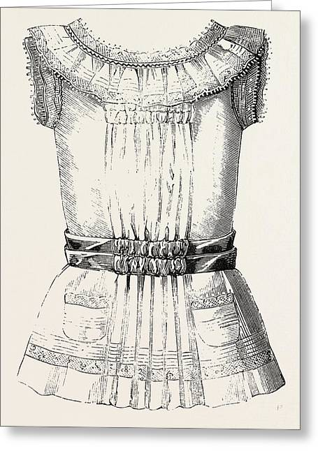 Childs Overall Pinafore, Front, 1882 Greeting Card by English School