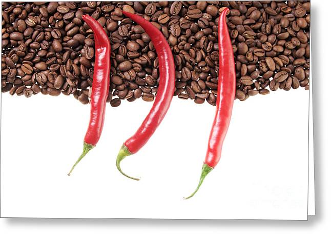 Chili And Coffee Greeting Card by Mario Kelichhaus