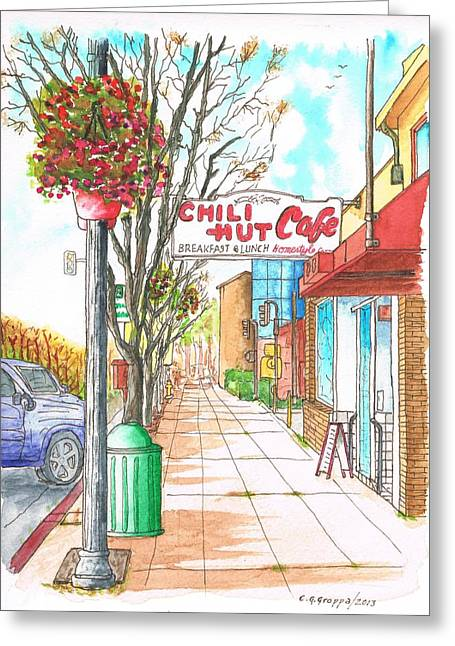 Chili Hut Cafe In Main Street, Santa Paula, California Greeting Card