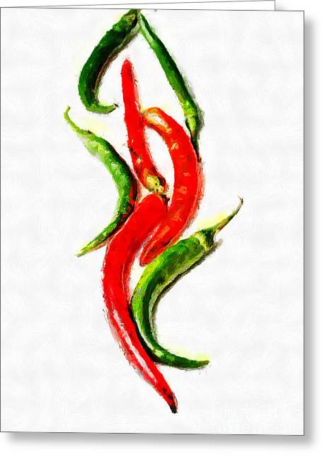 Chili Papers Of Various Shapes Painting Greeting Card by Magomed Magomedagaev