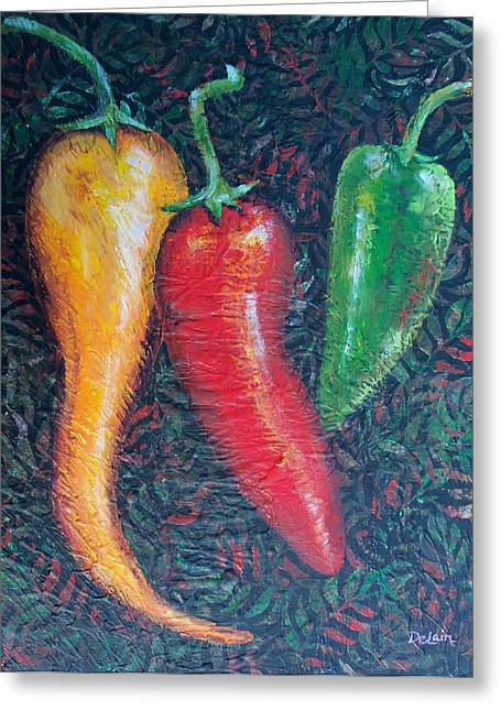 Chili Pepper Madness Greeting Card by Susan DeLain