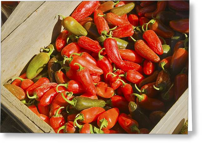 Chili Peppers At Maine Farmers Market Photograph Greeting Card by Keith Webber Jr