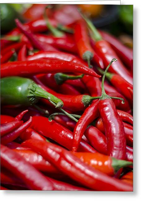 Chili Peppers At The Market Greeting Card by Heather Applegate