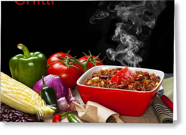 Chilli And Ingredients With Steam Rising Greeting Card