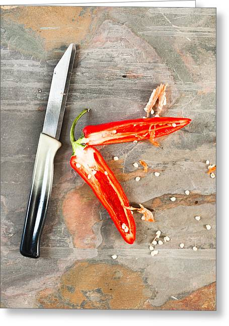 Chilli Pepper Greeting Card by Tom Gowanlock
