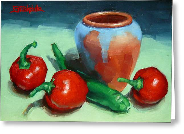 Chilli Peppers And Pot Greeting Card