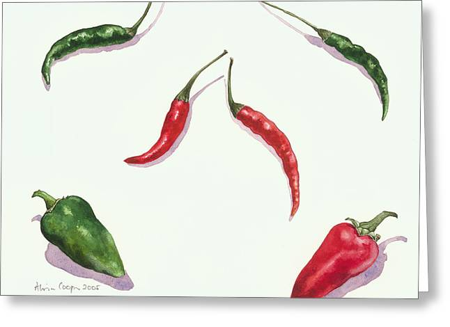 Chillies And Peppers Greeting Card by Alison Cooper