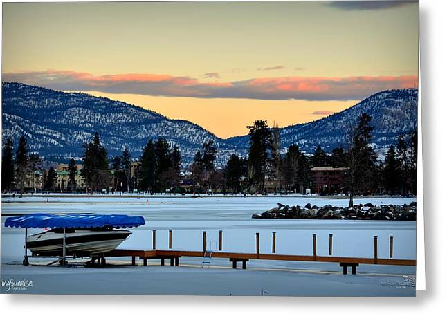 Chillingsunrise 001 Skaha Lake 02-28-2014 Greeting Card