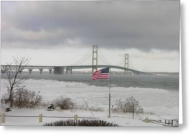 Chilly Mackinac Bridge Greeting Card