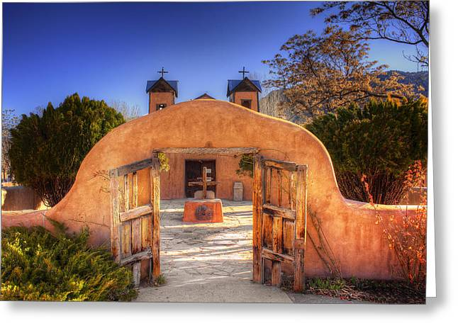 Chimayo Mission Greeting Card by Wendell Thompson