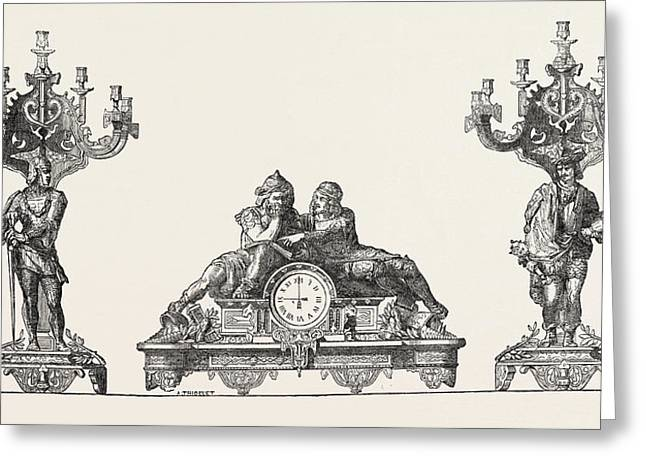 Chimney Ornaments In Bronze Greeting Card by M.m. Lerolle Freres, 19th Century, France