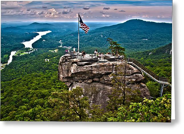 Greeting Card featuring the photograph Chimney Rock At Lake Lure by Alex Grichenko