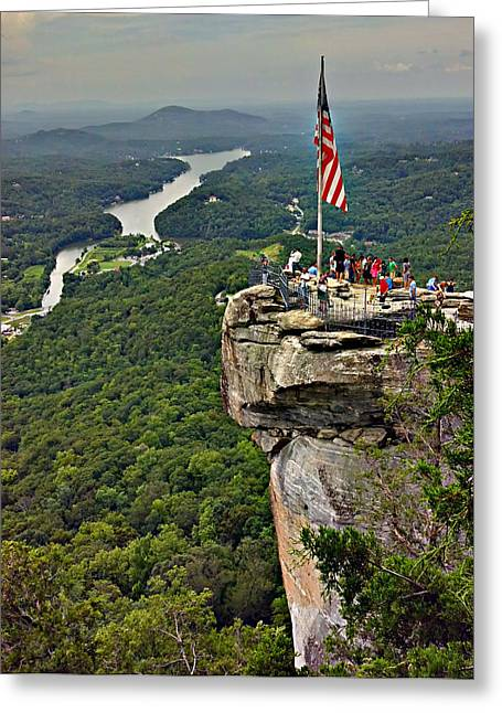 Greeting Card featuring the photograph Chimney Rock Overlook by Alex Grichenko