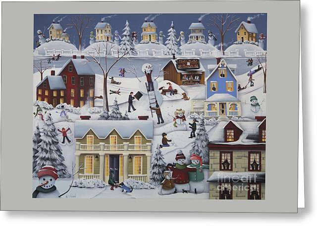Chimney Smoke And Cheery Snow Folk Greeting Card by Catherine Holman