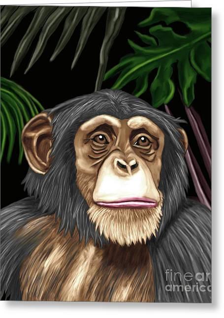Chimp Greeting Card by Karen Sheltrown