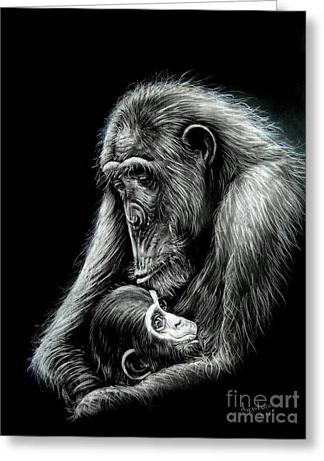 Chimp Love Greeting Card by Anastasis  Anastasi