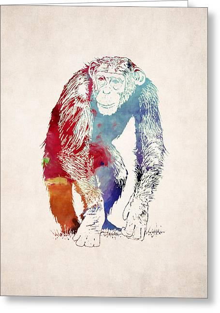 Chimpanzee Drawing - Design Greeting Card