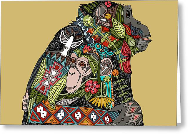 Chimpanzee Love Biscuit Greeting Card