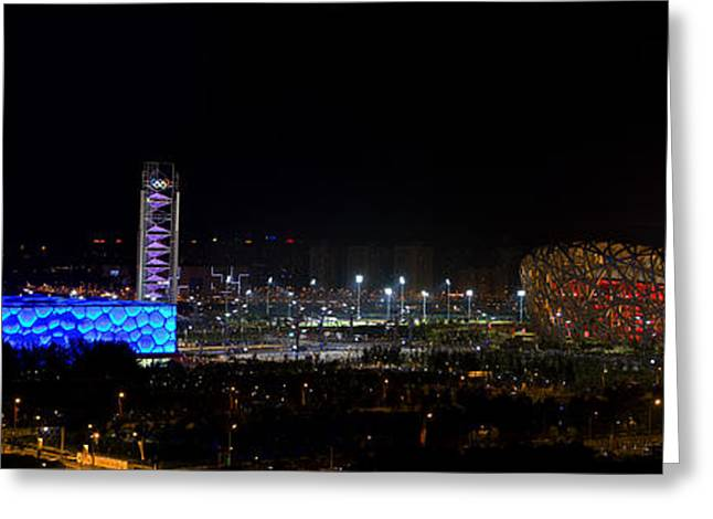 China Beijing Panorama Water Cube And Birds Nest Stadiums Greeting Card