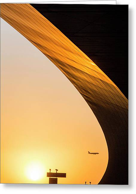 China, Beijing, Setting Sun Lights Greeting Card by Paul Souders