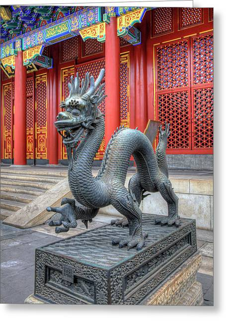China, Beijing, Statue At Entrance Greeting Card by Terry Eggers