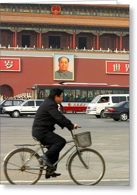 Greeting Card featuring the photograph China Bicycle by Henry Kowalski