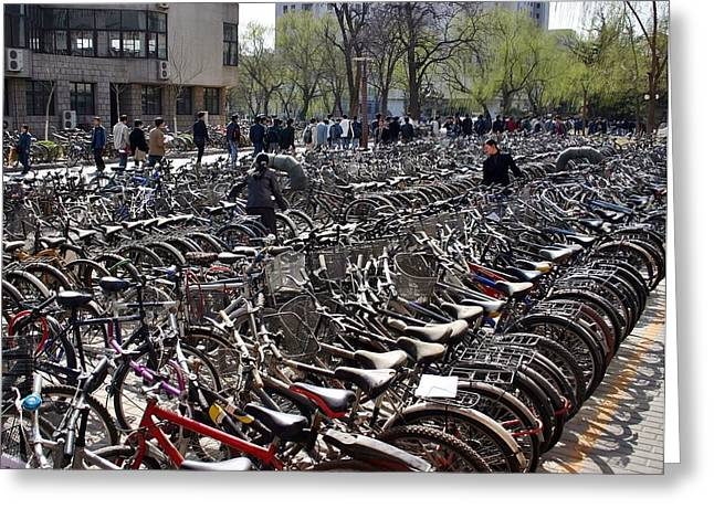 Greeting Card featuring the photograph China Bicycle Parking by Henry Kowalski