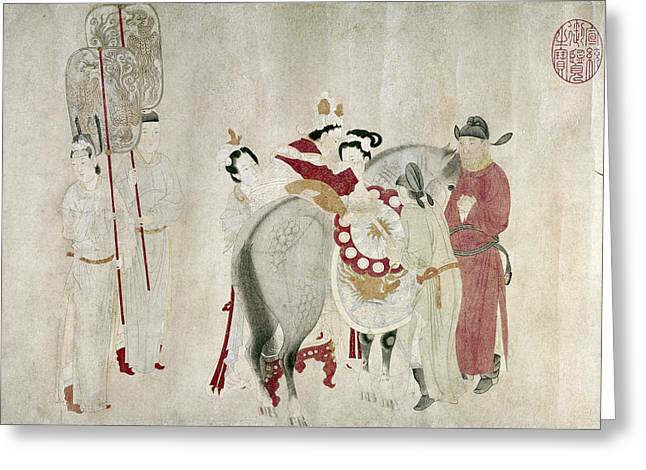 China Concubine & Horse Greeting Card by Granger