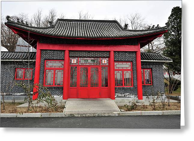 China, Dandong, Roofed Built Structure Greeting Card by Anthony Asael