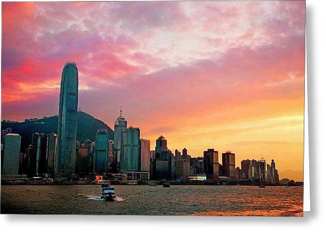China, Hong Kong, Victoria Harbor Greeting Card by Miva Stock
