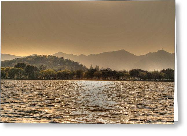 China Lake Sunset Greeting Card