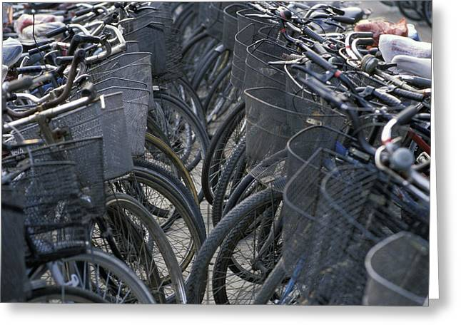 China, Parked Bicycles Beijing Greeting Card by Martin Stolworthy