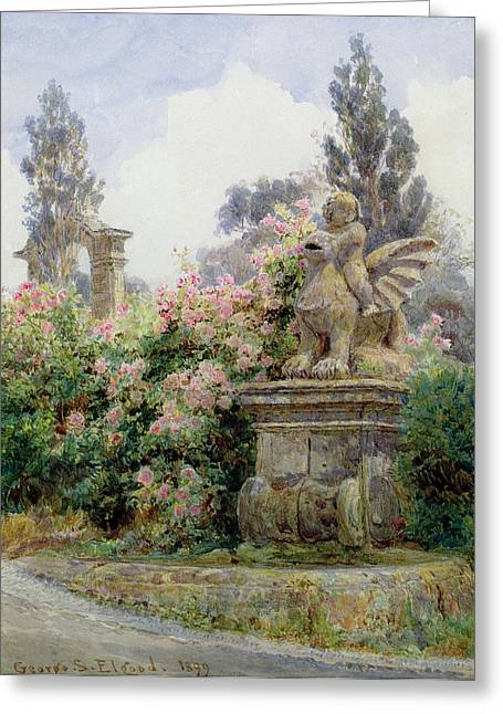 China Roses Villa Imperiali Genoa Greeting Card by George Samuel Elgood